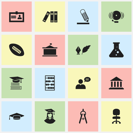 Set Of 16 Editable Education Icons. Includes Symbols Such As Education, Graduate, Bookshelf And More. Can Be Used For Web, Mobile, UI And Infographic Design.
