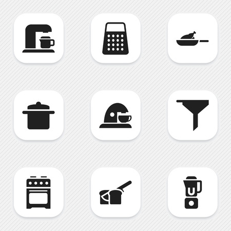originator: Set Of 9 Editable Cooking Icons. Includes Symbols Such As Cookware, Filtering, Hand Mixer. Can Be Used For Web, Mobile, UI And Infographic Design. Illustration