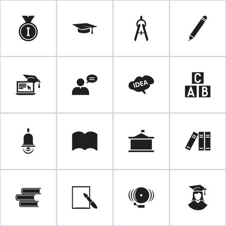 Ensemble de 16 icônes de science modifiables. Comprend des symboles tels que crayon, papier à lettres, bibliothèque, etc. Peut être utilisé pour Web, Mobile, UI et conception infographique.