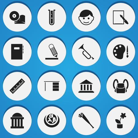 Set di 16 icone universitarie modificabili. Include simboli come scrittura, studioso, museo e altro ancora. Può essere utilizzato per Web, Mobile, interfaccia utente e progettazione infografica.