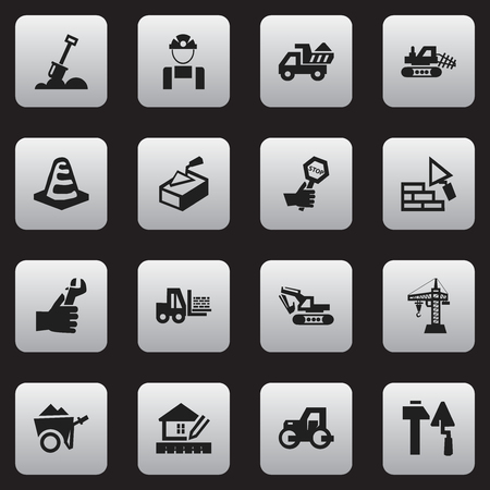 mason: Set Of 16 Editable Structure Icons. Includes Symbols Such As Excavation Machine, Employee, Truck And More. Can Be Used For Web, Mobile, UI And Infographic Design.