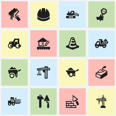 Set Of 16 Editable Structure Icons. Includes Symbols Such As Handcart , Trolley , Notice Object. Can Be Used For Web, Mobile, UI And Infographic Design.