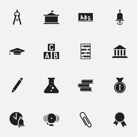 pad: Set Of 16 Editable School Icons. Includes Symbols Such As Ring, Math Tool, Chemistry And More. Can Be Used For Web, Mobile, UI And Infographic Design.