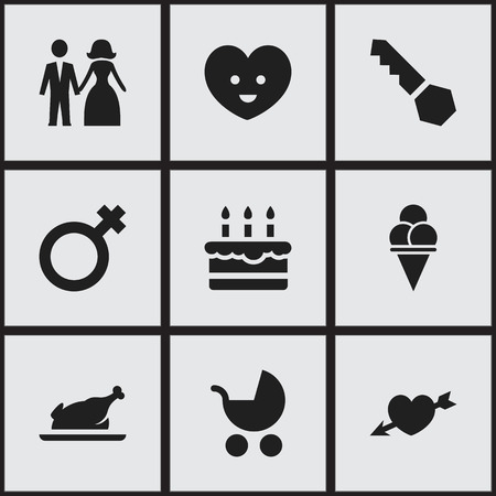 perambulator: Set Of 9 Editable Family Icons. Includes Symbols Such As Married, Perambulator, Patisserie And More. Can Be Used For Web, Mobile, UI And Infographic Design.