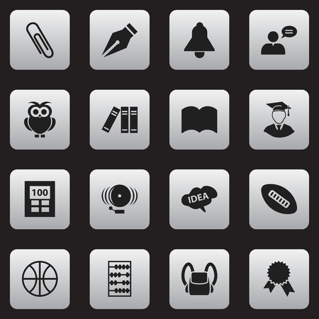 Set Of 16 Editable Education Icons. Includes Symbols Such As Victory Medallion, Dictionary, Calculator And More. Can Be Used For Web, Mobile, UI And Infographic Design.