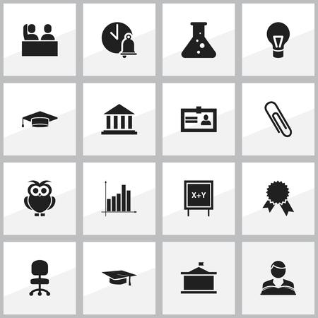 Ensemble de 16 icônes de remise des diplômes modifiables. Comprend des symboles tels que tableau noir, musée, université, etc. Peut être utilisé pour la conception Web, mobile, UI et infographique. Vecteurs