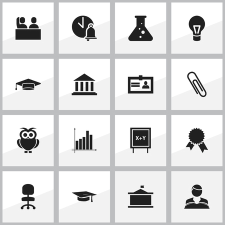 Set Of 16 Editable Graduation Icons. Includes Symbols Such As Blackboard, Museum, Univercity And More. Can Be Used For Web, Mobile, UI And Infographic Design. Vektorové ilustrace