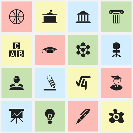 Set Of 16 Editable University Icons. Includes Symbols Such As Chart Board, Diplomaed Male, Pen And More. Can Be Used For Web, Mobile, UI And Infographic Design.