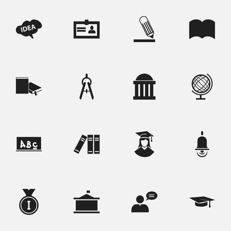 Ensemble de 16 icônes scientifiques modifiables. Comprend des symboles tels que salle d?audience, bibliothèque, homme pensant, etc. Peut être utilisé pour la conception Web, mobile, UI et infographique. Vecteurs