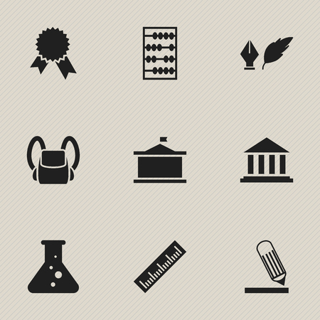 univercity: Set Of 9 Editable Science Icons. Includes Symbols Such As Schoolbag, Writing, Univercity And More. Can Be Used For Web, Mobile, UI And Infographic Design.