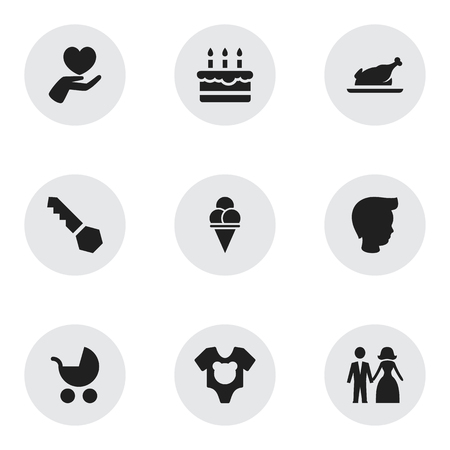 Set Of 9 Editable Relatives Icons. Includes Symbols Such As Fried Chicken, Bodysuit, Married And More. Can Be Used For Web, Mobile, UI And Infographic Design.