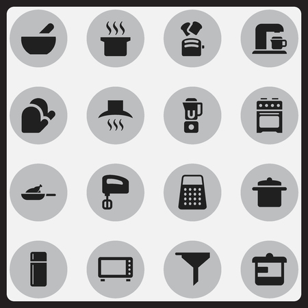 Set Of 16 Editable Cook Icons. Includes Symbols Such As Filtering, Shredder, Soup And More. Can Be Used For Web, Mobile, UI And Infographic Design.