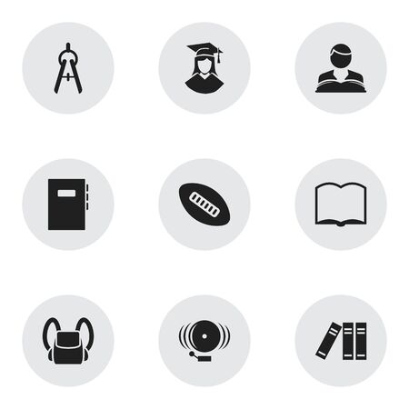 Set Of 9 Editable Graduation Icons. Includes Symbols Such As Bookshelf, Math Tool, Ring And More. Can Be Used For Web, Mobile, UI And Infographic Design. Ilustração