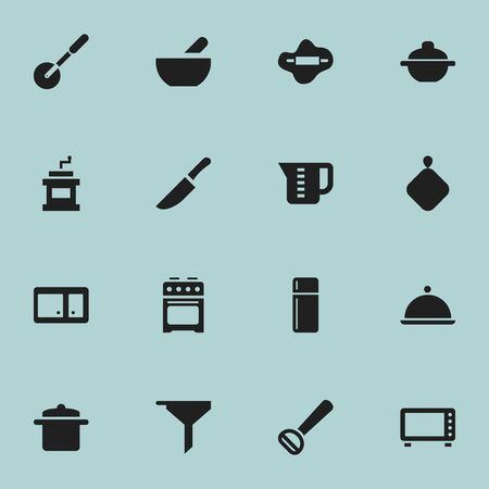 Set Of 16 Editable Cooking Icons. Includes Symbols Such As Mocha Grinder, Cookware, Saucepan And More. Can Be Used For Web, Mobile, UI And Infographic Design. Vector Illustration