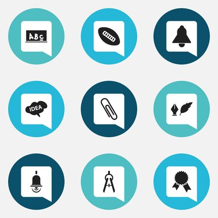 baccalaureate: Set Of 9 Editable University Icons. Includes Symbols Such As Staple, Bell, Victory Medallion And More. Can Be Used For Web, Mobile, UI And Infographic Design.