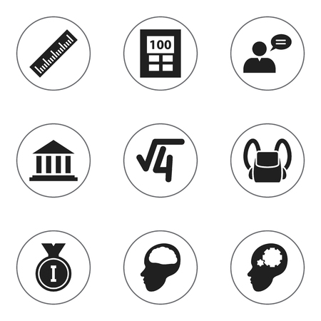 courthouse: Set Of 9 Editable University Icons. Includes Symbols Such As Cerebrum, Straightedge, Calculator And More. Can Be Used For Web, Mobile, UI And Infographic Design.