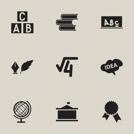 Set Of 9 Editable Graduation Icons. Includes Symbols Such As Math Root, Univercity, School Board And More. Can Be Used For Web, Mobile, UI And Infographic Design. Illustration