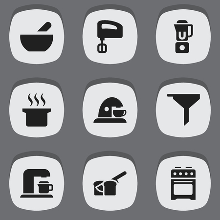 originator: Set Of 9 Editable Meal Icons. Includes Symbols Such As Drink Maker, Agitator, Bakery And More. Can Be Used For Web, Mobile, UI And Infographic Design.