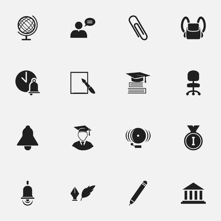 Ensemble de 16 icônes d'agrandissement modifiables. Comprend des symboles tels que les sacs scolaires, l'éducation, l'homme pensant et plus. Peut être utilisé pour la conception Web, mobile, UI et infographique.