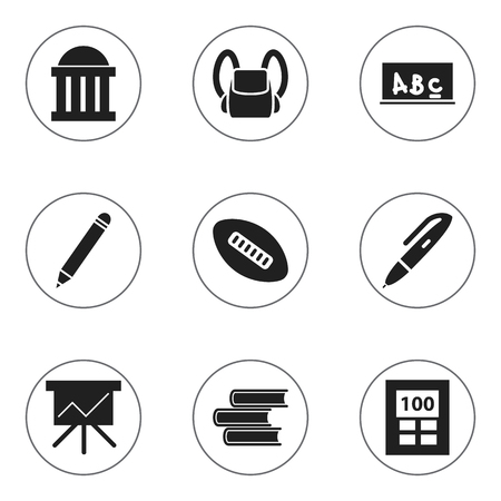 Set Of 9 Editable School Icons. Includes Symbols Such As Chart Board, Calculator, School Board And More. Can Be Used For Web, Mobile, UI And Infographic Design. Illustration