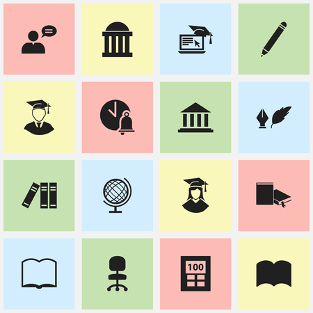 courthouse: Set Of 16 Editable University Icons. Includes Symbols Such As Graduated Female, Literature, Bookshelf And More. Can Be Used For Web, Mobile, UI And Infographic Design.