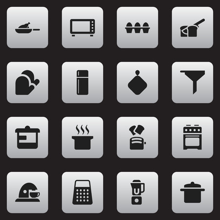 pad: Set Of 16 Editable Food Icons. Includes Symbols Such As Kitchen Glove, Egg Carton, Shredder And More. Can Be Used For Web, Mobile, UI And Infographic Design.