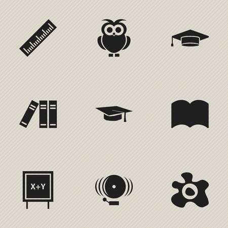 Set Of 9 Editable Graduation Icons. Includes Symbols Such As Omelette, Graduate, Dictionary And More. Can Be Used For Web, Mobile, UI And Infographic Design. Ilustração