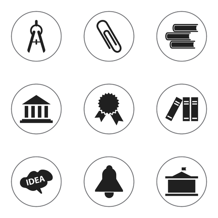 Set Of 9 Editable School Icons. Includes Symbols Such As Univercity, Bell, Mind And More. Can Be Used For Web, Mobile, UI And Infographic Design.