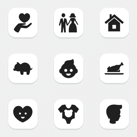 Set Of 9 Editable Relatives Icons. Includes Symbols Such As Heart, Home, Moneybox And More. Can Be Used For Web, Mobile, UI And Infographic Design. Illustration