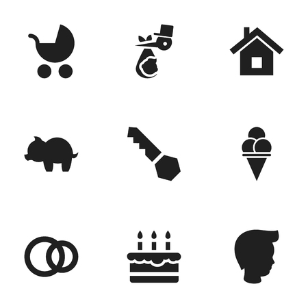 Set Of 9 Editable Folks Icons. Includes Symbols Such As Cold Dessert, Child, Moneybox And More. Can Be Used For Web, Mobile, UI And Infographic Design.