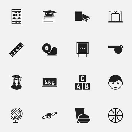 Set Of 16 Editable University Icons. Includes Symbols Such As Book Rack, Scholar, Earth Planet And More. Can Be Used For Web, Mobile, UI And Infographic Design.