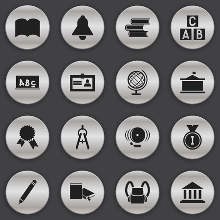 courthouse: Set Of 16 Editable University Icons. Includes Symbols Such As Alphabet Cube, Math Tool, Certification And More. Can Be Used For Web, Mobile, UI And Infographic Design.