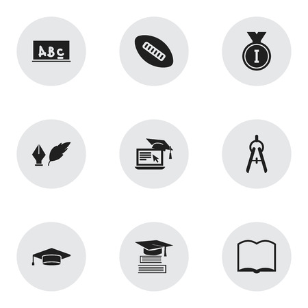 Set Of 9 Editable School Icons. Includes Symbols Such As Book, First Place, School Board And More. Can Be Used For Web, Mobile, UI And Infographic Design.