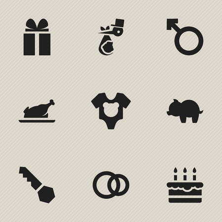 Set Of 9 Editable Relatives Icons. Includes Symbols Such As Child, Moneybox, Fried Chicken And More. Can Be Used For Web, Mobile, UI And Infographic Design. Illustration