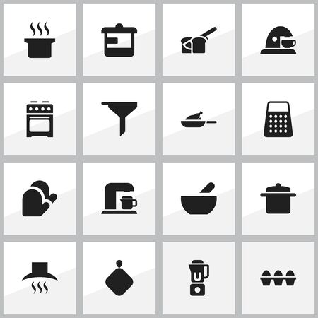 originator: Set Of 16 Editable Cook Icons. Includes Symbols Such As Egg Carton, Utensil, Pot-Holder And More. Can Be Used For Web, Mobile, UI And Infographic Design. Illustration
