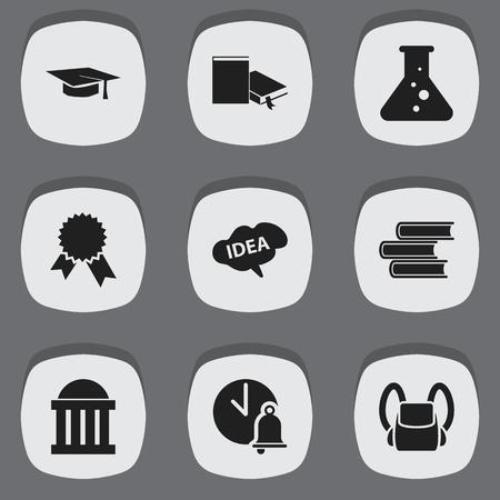 편집 가능한 대학 아이콘 9 세트입니다. 승리의 메달, 법정, 정신 등의 상징을 포함합니다. 웹, 모바일, UI 및 인포 그래픽 디자인에 사용할 수 있습니다. 일러스트