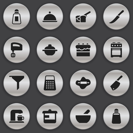 Set Of 16 Editable Meal Icons. Includes Symbols Such As Filtering, Saucepan, Salver And More. Can Be Used For Web, Mobile, UI And Infographic Design.
