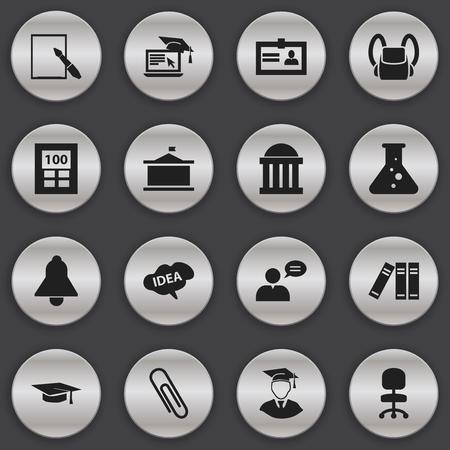編集学校の 16 のアイコンのセットです。本棚、電卓、卒業の帽子などの記号が含まれています。Web、モバイル、UI、インフォ グラフィック デザイン