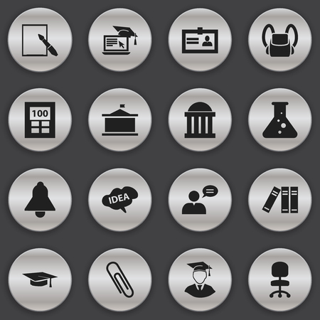 Set Of 16 Editable School Icons. Includes Symbols Such As Bookshelf, Calculator, Graduation Hat And More. Can Be Used For Web, Mobile, UI And Infographic Design.