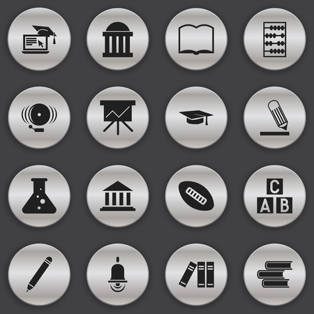 Set Of 16 Editable University Icons. Includes Symbols Such As Graduation Hat, Chart Board, Alarm Bell And More. Can Be Used For Web, Mobile, UI And Infographic Design.