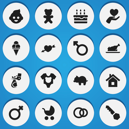 Set Of 16 Editable Folks Icons. Includes Symbols Such As Toy, Cold Dessert, Bodysuit And More. Can Be Used For Web, Mobile, UI And Infographic Design.