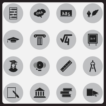 Set Of 16 Editable Graduation Icons. Includes Symbols Such As Straightedge, Literature, Math Root And More. Can Be Used For Web, Mobile, UI And Infographic Design. Illustration