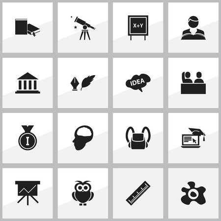 perusal: Set Of 16 Editable Science Icons. Includes Symbols Such As Museum, Chart Board, Binoculars And More. Can Be Used For Web, Mobile, UI And Infographic Design. Illustration