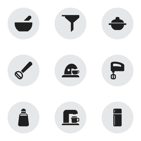 originator: Set Of 9 Editable Meal Icons. Includes Symbols Such As Agitator, Paprika, Drink Maker And More. Can Be Used For Web, Mobile, UI And Infographic Design.