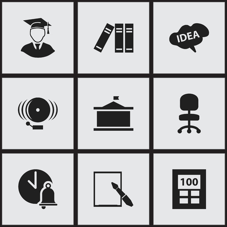 Set Of 9 Editable Science Icons. Includes Symbols Such As Univercity, Ring, School Bell And More. Can Be Used For Web, Mobile, UI And Infographic Design.