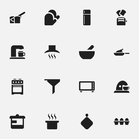 pad: Set Of 16 Editable Meal Icons. Includes Symbols Such As Refrigerator, Oven, Drink Maker And More. Can Be Used For Web, Mobile, UI And Infographic Design. Illustration