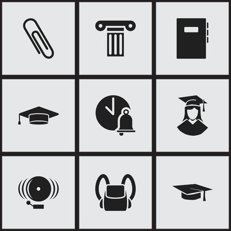 Ensemble de 9 icônes de l'éducation modifiables. Inclut des symboles tels que pilier, diplômé, cloche d'école et plus. Peut être utilisé pour Web, Mobile, UI et conception infographique. Vecteurs