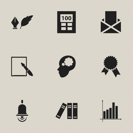Set Of 9 Editable Graduation Icons. Includes Symbols Such As Alarm Bell, Envelope, Bookshelf And More. Can Be Used For Web, Mobile, UI And Infographic Design.