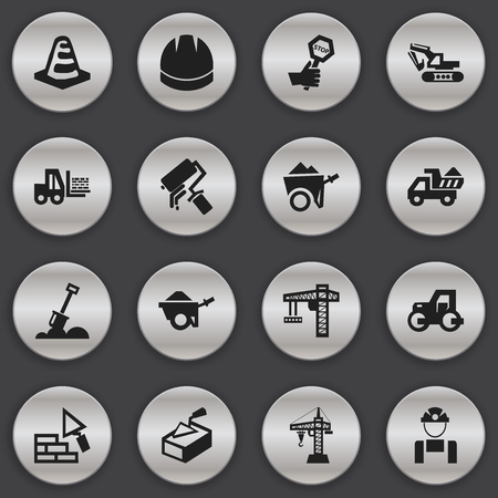 Set Of 16 Editable Structure Icons. Includes Symbols Such As Excavation Machine , Handcart , Spatula. Can Be Used For Web, Mobile, UI And Infographic Design.  イラスト・ベクター素材
