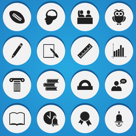 Set Of 16 Editable Education Icons. Includes Symbols Such As Straightedge, Notepaper, Thinking Man And More. Can Be Used For Web, Mobile, UI And Infographic Design.